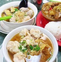 Wonton noodle soups  shrimp dumplings with chicken  curry beef tendon...