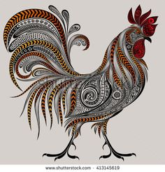 Vector colored cock of the patterns for the New year 2017