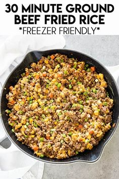 beef and rice Ground Beef Fried Rice is a simple and super flavorful dinner made in 30 minutes! This mouthwatering meal will please the whole family, and it's freezer friendly! Ground Beef Recipes For Dinner, Dinner Recipes, Ground Beef Meals Healthy, Drink Recipes, Ground Meat Recipes, Lunch Recipes, Asian Recipes, Healthy Recipes, Arabic Recipes