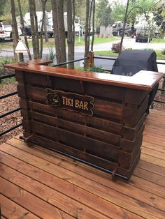 PALLET BAR, TIKI BAR, Attention To Detail, Made Like No Other, Comes With Serving Top & 2 Prep Shelves And A Black Powder Coated Steel Foot Rest, These Bars Are Sure To Please & Complement Any Area Of Your Home Or Outdoor Area. MADE FROM NEW PALLETS By A Pallet Manufacturer, Designed For The Construction Industry. 64X22X42. Or We Can Custom Build Any Size. ( We Provide You With A Up To Date Picture Build Process On Your Item To Insure Quality That You Deserve ) EXCLUDES ELECTRICAL OUTLETS…