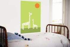 Green Giraffe Laminated Oversized Art by Avalisa at Art.com