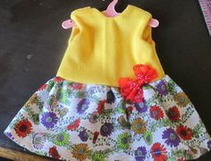 """13"""" Baby Alive Doll Clothes Summer Dress Yellow Flowers Handmade Free Hanger 