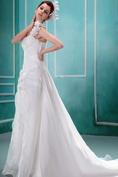 Organza One-shoulder Elegant Bridal Dresses - Order Link: http://www.theweddingdresses.com/organza-one-shoulder-elegant-bridal-dresses-twdn0456.html - Embellishments: Crystal , Flower , Ruched; Length: Court Train; Fabric: Organza; Waist: Natural - Price: 143.04USD