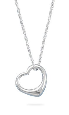 "18"" Necklace and Floating Heart Pendant from Blue Tulip Boutique"