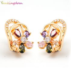 Yunkingdom New Special Design Jewelry  Gold Plated  Cubic Zircon elegant womens Hoop Earrings For Grand Party LPK0042