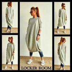 Los van de informele Top / Oversize grijs tuniek / asymmetrische lange mouwen jurk