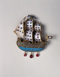 Exquisite enameled sailing ship earring from Patmos 18thC.  Peloponnesian Folklore Foundation Collection