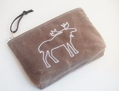 Waxed Canvas Zipper Pouch,  Cosmetic Bag, Embroidered Moose in Driftwood