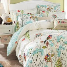 TheFit Paisley Textile Bedding for Adult Garden Floral and Bird Duvet Cover Set Cotton, Queen Set, 4 Pieces - A Luxury Bed - Silk Sheets Bedspreads Luxury Bedding Silk Sheets, Flat Sheets, Bed Sheets, Bed Comforter Sets, Queen Bedding Sets, Duvet Cover Sets, Pillow Covers, Blanket Cover, Bed Spreads