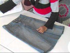 Jeans to knee length denim skirt / Recycled denims 1