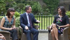 First Lady Michelle Obama meets with Prime Minister David Cameron and his wife Samantha Cameron for tea at 10 Downing Street, London, England, June 16, 2015.