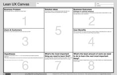 Lean UX Canvas.   http://www.jeffgothelf.com/wp-content/uploads/2016/12/LeanUX_canvas_v4.pdf