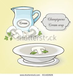 Champignons cream soup set. Ingredients and soup in the plate on the light yellow background.
