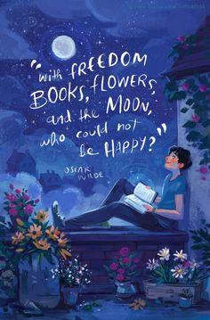 Con libros de libertad, flores y la luna, que no podían ser felices♥: