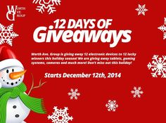 12 Days of Giveaways  It's the gift giving time of year and Worth Ave. Group wants to give to YOU. Enter each day to win a prize. Happy Holidays!