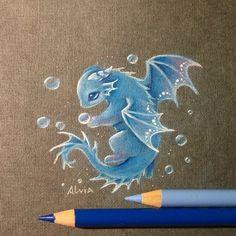 Sea treasures by AlviaAlcedo on DeviantArt Sea treasures by AlviaAlcedo Colored pencils Fantasy Drawings, Cool Art Drawings, Cute Animal Drawings, Art Sketches, Fantasy Art, Drawing Ideas, Cute Dragon Drawing, Dragon Sketch, Dragon Drawings