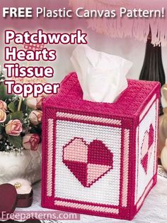 Free Patchwork Hearts Tissue Topper & Jeweled Plant Poke Plastic Canvas Pattern -- Download this free plastic canvas tissue box cover pattern from FreePatterns.com.