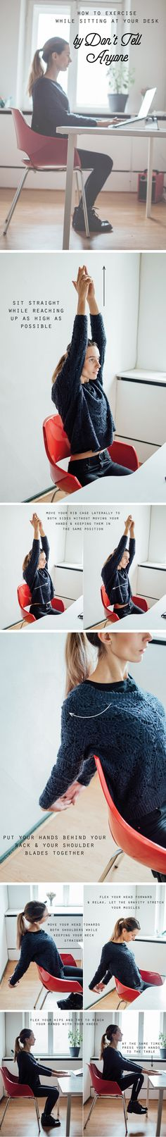 How To Exercise While Sitting At Your Desk? Well, that's easy! Check http://donttellanyone.net/blog/how-to-exercise-while-sitting-at-your-desk/ for more! Workout, workout routine, fitness, workouts for bloggers.