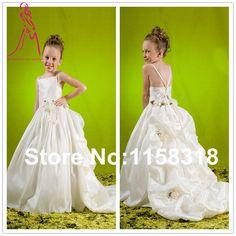 2014 New Ariival White Sweetheart Long Flower Girl Dresses Size Custom Dress For Wedding Freee Shipping-in Flower Girl Dresses from Apparel ...