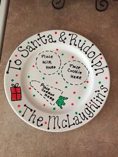Personalized Homemade Christmas Eve plate for Santa and Rudolph, milk, cookies, and carrot. Organized Chaos Blog