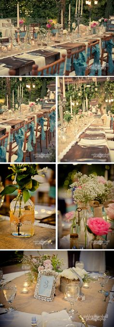 I like the use of burlap as a contrast to the flowers and tea lights and delicate details. It pulls everything together for a rustic feel. burlap