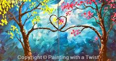 "Painting with a Twist Couples | Painting With a Twist - ""Love Trees Couples Set"" (Singles"