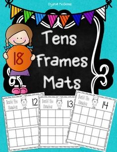 I created this set of tens frames mats to place in my math center. I will provide manipulatives, and students will count the correct number of counters and place them on the mat. Kindergarten Math Activities, Preschool Math, Math Classroom, Math Resources, Teaching Math, Math Games, Teaching Tools, Teaching Ideas, Math Work