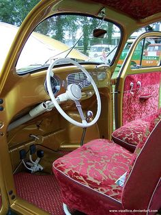 Gold and purple Mild Kustom inspired VW Bug interior. Can I.. May I?? I'm obsessed.