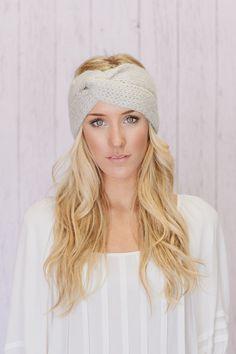 Knitted Turband Headband Twist Mohair Ear Warmer Platinum Grey