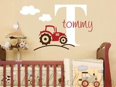 Tractor Farm Truck Boys Initial Name by ToodlesDecalStudio on Etsy, $32.50. I think daddy would love it, if I got this for baby boy's room!