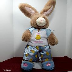 """Build A Bear Bunny Rabbit Brown Plush Stuffed in Pajamas and Fuzzy Slippers 15"""" #AllOccasion"""