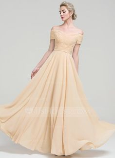 A-Line/Princess Off-the-Shoulder Floor-Length Ruffle Zipper Up Sleeves Short Sleeves No Champagne Spring Summer Fall General Plus Chiffon Height:5.7ft Bust:33in Waist:24in Hips:34in US 2 / UK 6 / EU 32 Evening Dress