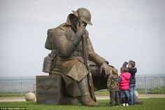 Tribute: This sculpture of a World War One soldier reflecting on the war just a minute aft...