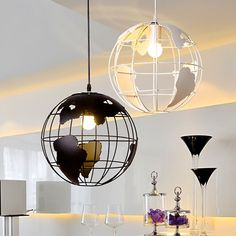 Globe Earth Iron Pendant Lamp Light Shade Black / White for Kitchen Island Dining Room Restaurant Decoration 220V E27 Material: iron Diameter about: 11 inch (28CM) Line length: 39.4 inch (100CM) Bulb type: E27 Package include: 1*Pendant l...