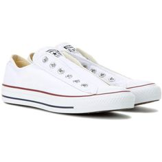 Converse Chuck Taylor Slip Sneakers ($74) ❤ liked on Polyvore featuring shoes, sneakers, converse, chaussures, zapatos, white, converse footwear, converse trainers, white trainers and converse shoes