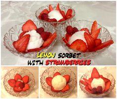Lemon Sorbert with Strawberries