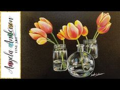 Acrylic Painting Pink and Purple Flowers on a Black Background - YouTube