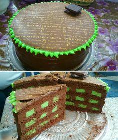 Creamy mint-chocolate truffle cake