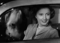 Barbara Stanwyck | The File on Thelma Jordon (1950), directed by Robert Siodmak for Paramount | Tags: car, automobile, dog, sheepdog