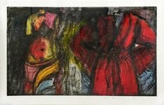 JIM DINE Yesteryear 2015 Offset lithograph, soft ground etching, hand applied charcoal, and hand painted acrylic on two sheets of paper hinged together Sheet: 28-1/4″ x 43″ / 71.8 x 109.2 cm Image: 24″ x 39-1/2″ / 61 x 100.3 cm Edition of 9 Jonathan Novak Contemporary Art, Los Angeles http://novakart.com/artists/jim-dine/ #jimdine #venus #robe