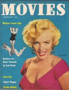 """Movies - February 1953, magazine from USA. Front cover photo of Marilyn Monroe in publicity for """"Niagara"""" ca.1952-53."""