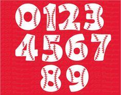 Baseball Stitches monogram numbers SVG DXF por ESIdesignsdigital