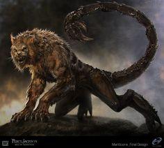 Percy Jackson: Sea of Monsters, Manticore, Sebastian Meyer on ArtStation at https://artstation.com/artwork/percy-jackson-sea-of-monsters-manticore