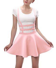 5e1910bcbd3 Urban CoCo Womens Elastic Waist Pleated Short Braces Skirt (Large