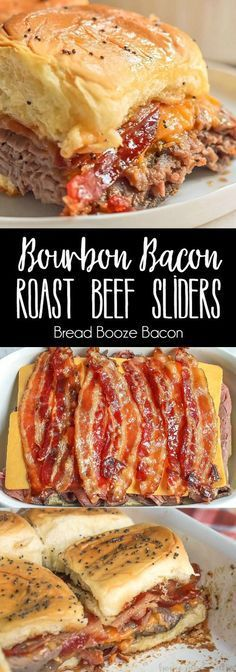 These Bourbon Bacon Roast Beef Sliders are a great game day recipe that is perfect for your next football party! via These Bourbon Bacon Roast Beef Sliders are a great game day recipe that is perfect for your next football party! I Love Food, Good Food, Yummy Food, Roast Beef Sliders, Beef Burgers, Pulled Pork Sliders, Mini Burgers, Veggie Burgers, Slider Sandwiches