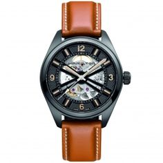 Hamilton Khaki Skeleton Automatic Watch with Brown Leather Band and Gold CasingBrand:HamiltonBand Color:BrownBand Material:LeatherBand Width Diameter Material:Stainless SteelClasp:BuckleCollection:Khaki SkeletonCrystal:SapphireDial Color:BlackDisplay:Ana Swiss Watches For Men, Automatic Watches For Men, Fine Watches, Cool Watches, Men's Watches, Latest Watches, Pocket Watches, Fashion Watches, Men's Accessories