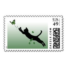 The Cat & The Butterfly Postage Stamps