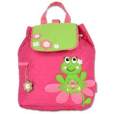 Stephen Joseph Quilted Backpack Frog Personalized by LifeAStitch