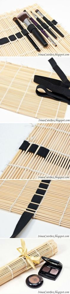 wiith a sushi rolling mat and ribbons you can make these useful and elegant case to store makeup brushes.