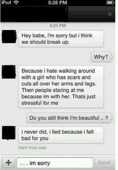 This is so sad, the poor girl's soul must be destroyed. He deserves a punch in the face. REBLOG please